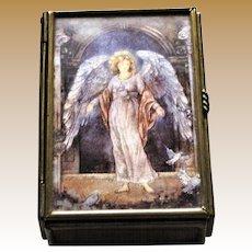 Enesco Angel Jewelry Trinket Box, Brass & Glass Paneled, Mirrored Base