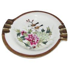 Kutani Hand Painted Mid Century Ashtray, Birds, Flowers!