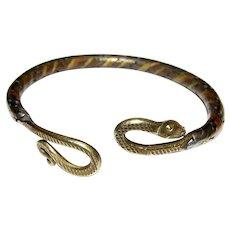 Mixed Metal Egyptian Revival Snake Bracelet