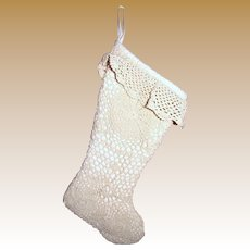 Victorian Style Natural Cotton Crochet Christmas Stocking