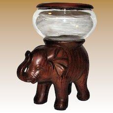 Faux Wood Elephant Fish Bowl, Candle Holder, or Plant Terrarium
