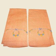 Pair Art Deco Peach Linen Floral Swag Finger Towels