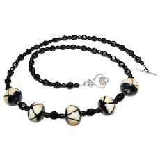 """Sophisticated 18"""" French Jet & Art Glass Necklace"""