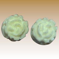 Tiny Hand Carved Bone Rose Stud Earrings