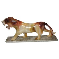 Large Hand Carved Onyx Art Deco Style Lion