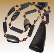 """Natural Horn 30"""" Necklace with 2 1/2"""" Horn Drop Pendant"""