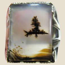 Art Deco Picture Agate & Sterling Sz 11 Ring, Image of Island w/ Tree on Lake