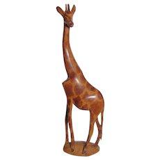 """Hand Carved African Wooden Giraffe Sculpture, 12 1/2"""" Tall, Mint"""