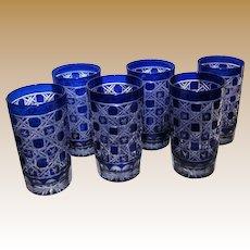 "6 Vintage Cobalt Cut to Clear 4 1/2"" Tumblers, Bohemian, Mint"