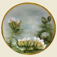 Signed Bavarian Hand Painted Plate with Water Lilies