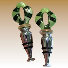 Matching Pair of Murano Glass Bottle Stoppers
