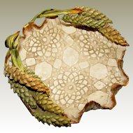 Wheat Ear Art Pottery Bowl, Impressed Decoration, Signed