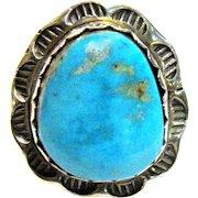 Navajo Robert Haley Turquoise & Sterling Ring,  Sz 7 1/4