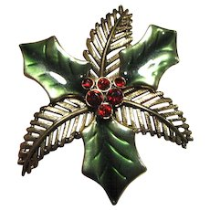 Large Christmas Holly Pin w/ Enamel & Rhinestones