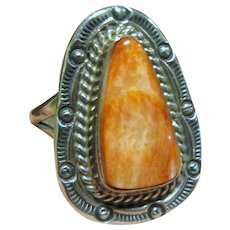 Navajo Sterling & Orange Spiny Oyster Ring Size 5.5 by Mike Ganadonegro