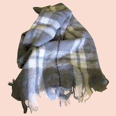 "Soft 70"" Wool & Acrylic Mohair Gray Plaid Shawl, Lap Blanket"