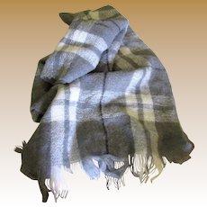 "Super Soft 70"" Wool & Acrylic Mohair Gray Plaid Shawl"
