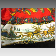 """34"""" Sq Poly Christmas Scarf, Ladies in Sleighs, Wreath Design"""