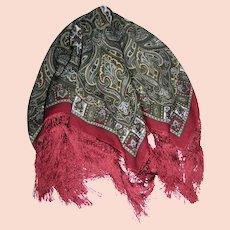 """Kashmir"" Brand Pure Wool 38"" Sq Shawl w/ 5"" Fringes"