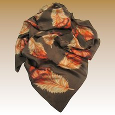 """Exotic """"Echo"""" 30"""" Sq Feather Design Poly Satin Scarf"""