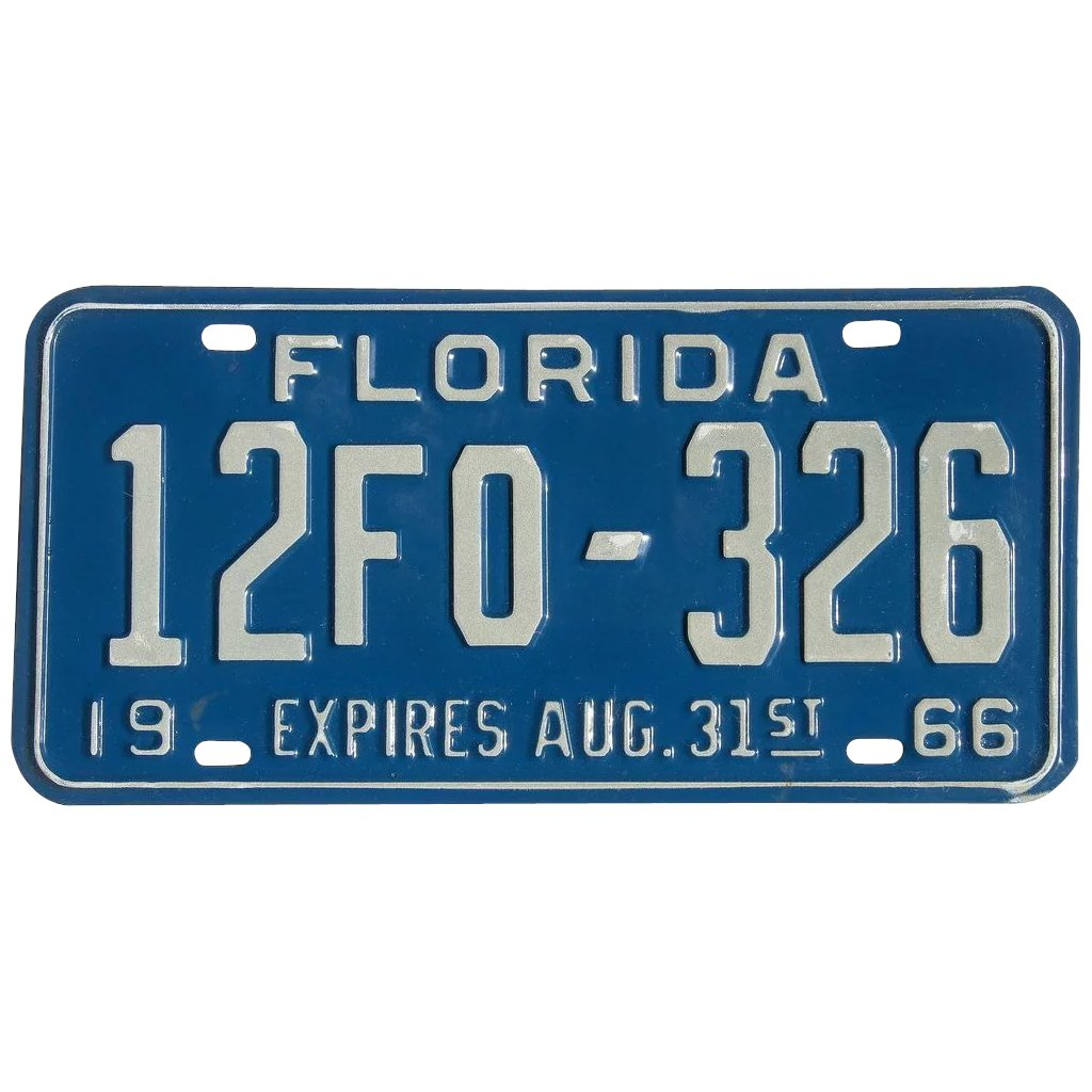 Old Florida License Plate 1966 SOLD | Ruby Lane
