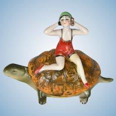 "German Bathing Beauty on Turtle Back Dresser Box c. 1920s Porcelain, 4"" Tall"
