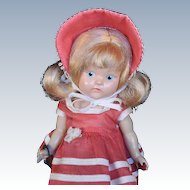 Vogue Ginny 1950 Painted Eyes Hard Plastic Wearing Tagged GLAD Outfit