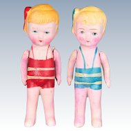 """Pair of 1930s Bisque Dolls Made in Japan, Wearing Bathing Suits and Bows. 4.5"""" tall"""