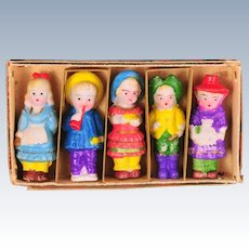 Set of Five All Bisque Immobile Dolls in Original Box, Japan 1920s.