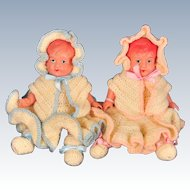 """Occupied Japan 1940s Celluloid Baby Doll Boy and Girl Twins, Asakusa, 6"""" Tall"""