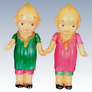 """Pair of Celluloid Kewpies 1930s With Molded Clothing 3"""" tall"""