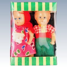 Two Tiny 1950s Dollhouse Dolls Made in Hong Kong, In Original, unopened Box