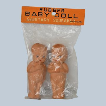 Two Immobile Rubber Baby Googly Dolls Made in Japan c. 1940s/50s Original Package
