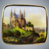 Antique Hand Painted Scene Brooch Gold Porcelain Fine