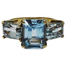 Elegant Blue Topaz 10K Yellow Gold 3 Stone Ring Fine Vintage