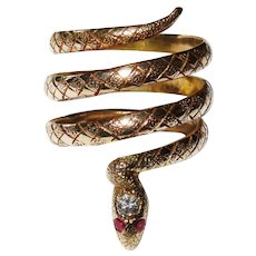 Diamond Ruby 10K Yellow Gold Snake Ring Fine Awesome