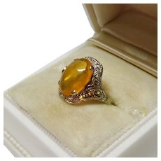 Mexican Fire Opal 10K Tri-Gold Filigree Ring Fine Vintage Art Deco