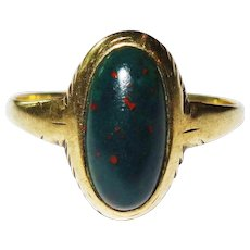 Edwardian Bloodstone 10K Yellow Gold Ring Fine Pinky Ring