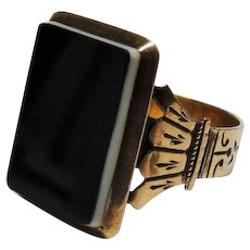 Victorian Banded Agate 10K Yellow Gold Ring Ornate Fine