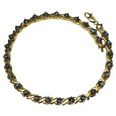 Cat's Eye Chrysoberyl 10K Yellow Gold Tennis Line Bracelet Fine Vintage