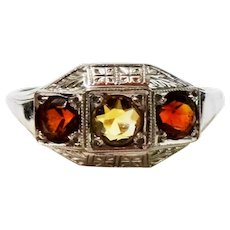 Cognac Brandy Citrine 10K White Gold Chased Ring Fine Art Deco Lovely