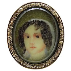 Antique Miniature Portrait Girl 10K Yellow Gold Hand Painted Georgian Rare