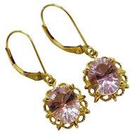 Morganite 10K Yellow Gold Drop Earrings Fine Gorgeous