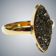 Victorian Pyrite 10K Yellow Gold Ring Fine Antique