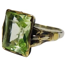 Green Spinel 10K Yellow Gold Sterling Silver Ring Art Deco