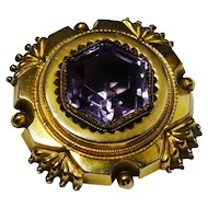 Victorian Amethyst 10K Yellow Gold Memorial Locket Brooch Fine