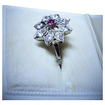 Clearance--- Ruby Quartz 19K White Gold Snowflake Ring Vintage Pretty