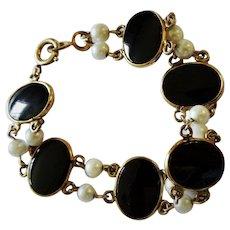 Black Onyx Cultured Pearl 12K YGF Link Bracelet Fine Nice Vintage