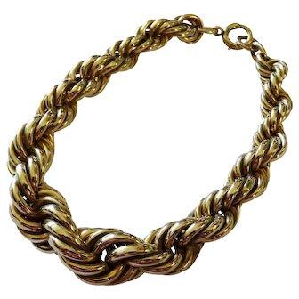 Vintage Twisted Rope 12K Yellow Gold Filled Bracelet Graduated Fine