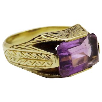 Edwardian Amethyst 14K Yellow Gold Chased Ring Fine